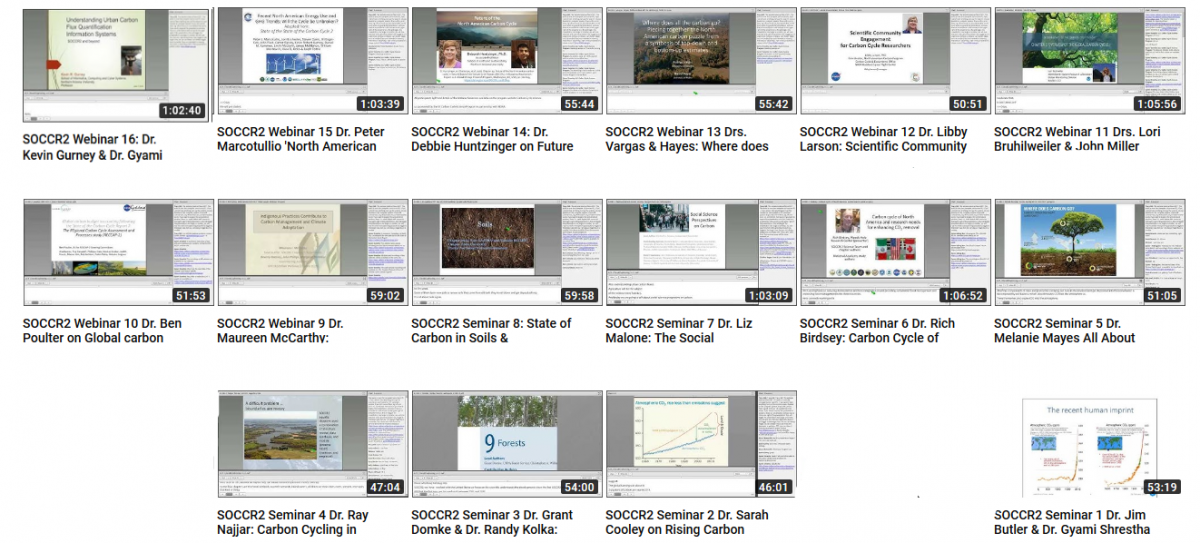 Link to recordings of all webinars on the Youtube Channel of the U.S. Carbon Cycle Science Program