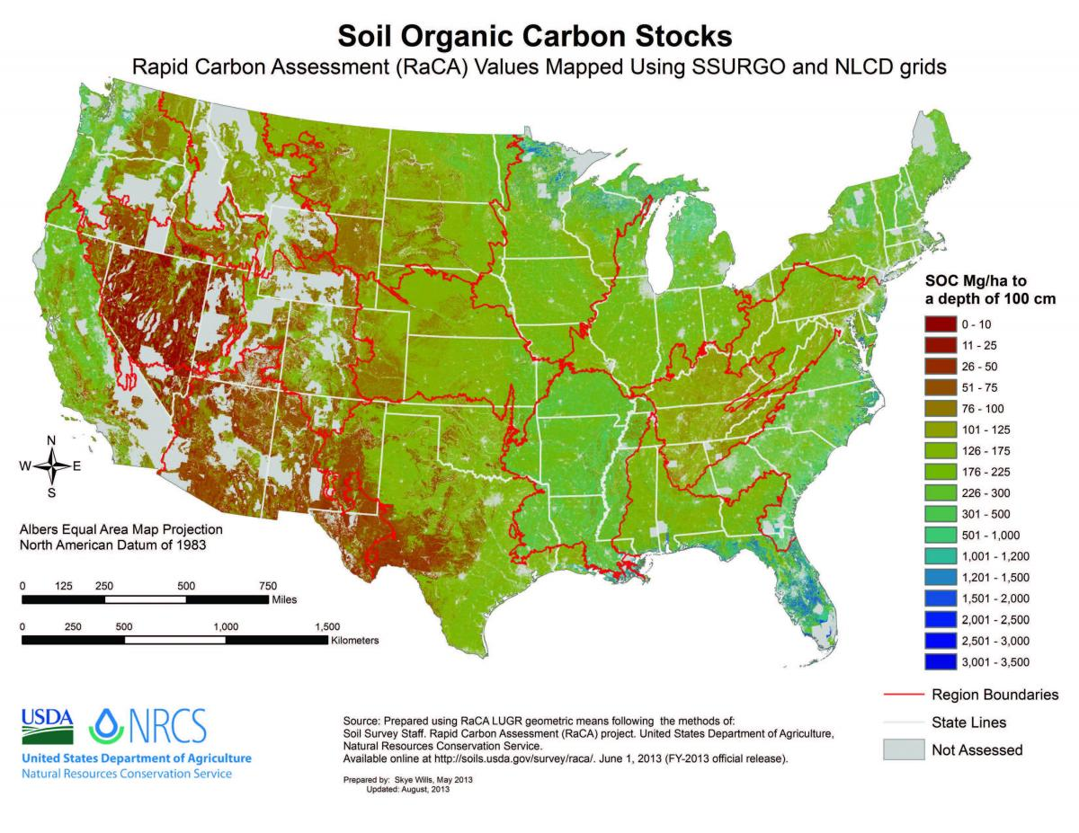 US Soil Organic Carbon Stocks by region (2013)