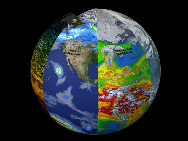Earth is a system of systems. Multidisciplinary observations and models shed light on the interactions among these systems and improve understanding and predictions of carbon dynamics and processes. Pictured here, from left to right, are models showing sea surface currents and temperature (from the Estimating the Circulation and Climate of the Ocean, Phase II (ECCO2) model), wind speeds (from the Goddard Earth Observing System Model, Version 5 (GEOS-5)), precipitable water (also from GEOS-5), and clouds (GEOS-5). A joint meeting brought together a diverse group of attendees from the United States, Canada, and Mexico to discuss carbon cycle issues and sustainable carbon management in the context of this system of systems. Credit: NASA GSFC