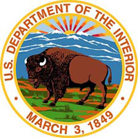 Blud,brown, green and gold logo with a buffalo in center and mountains in background