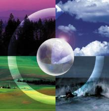 Color graphic with 4 photos and the earth in center